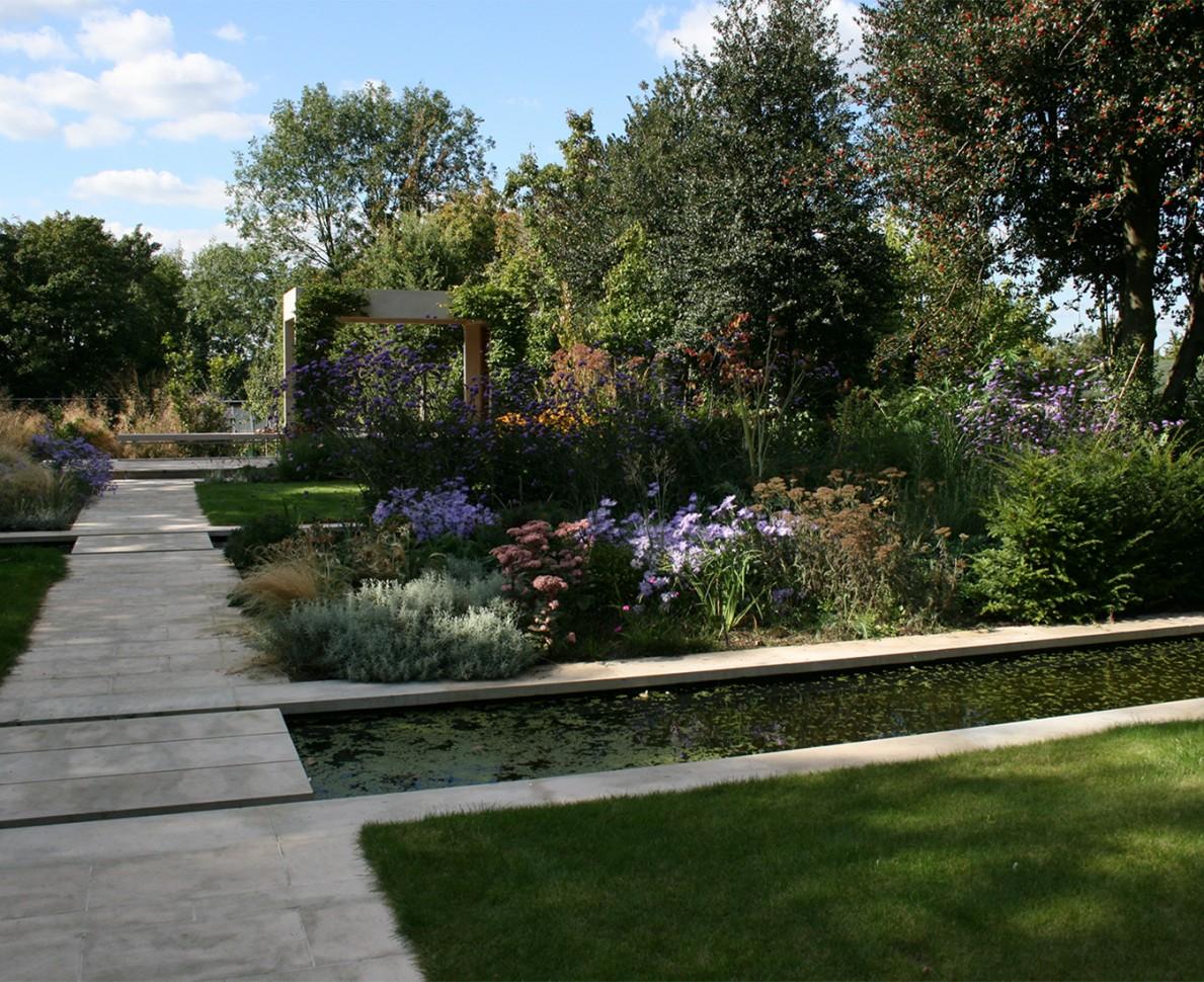 A view of the canal in the arts and crafts themed garden