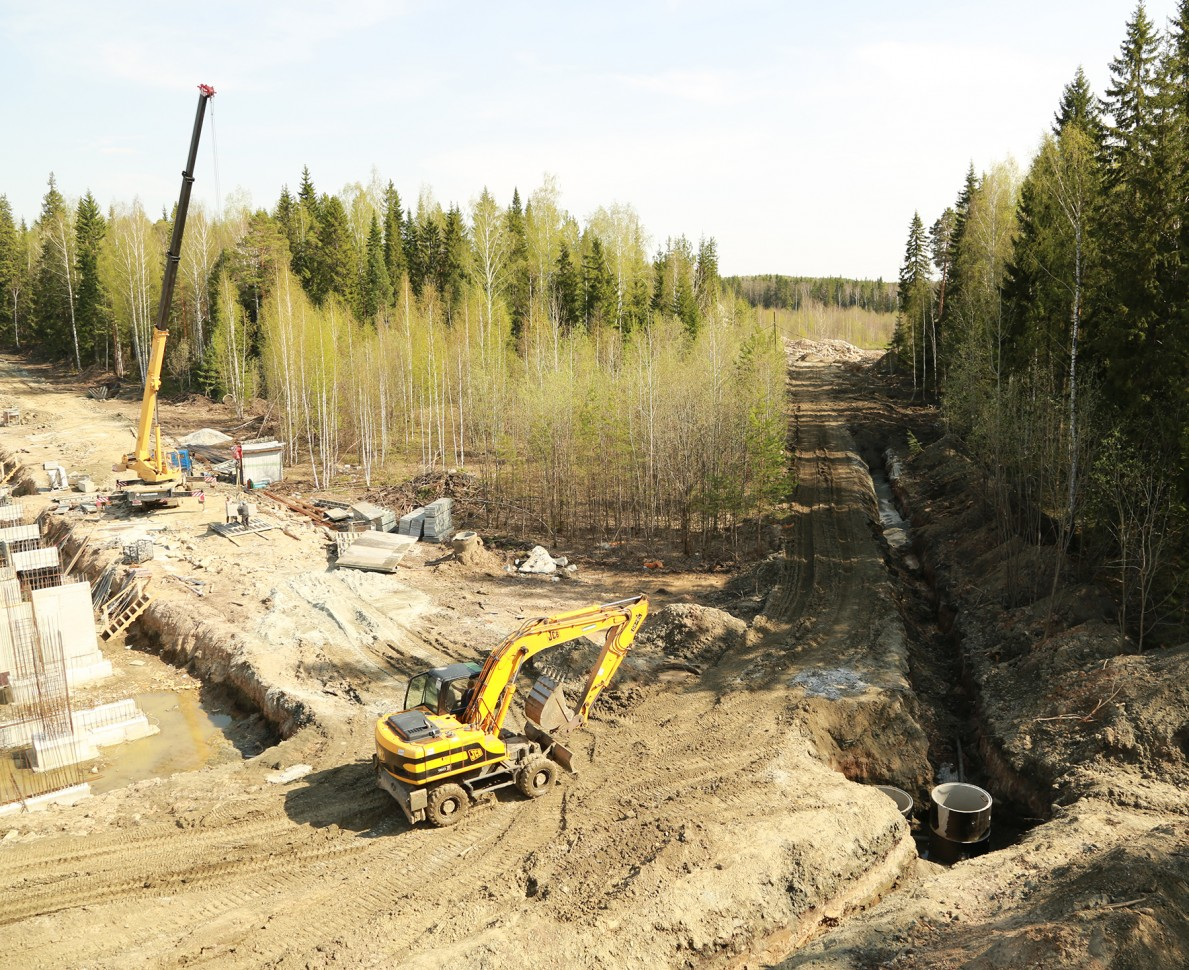 The construction site of the European Village development building around the woodland trees