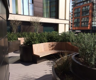 Seating pods at the Merchants Square roof garden