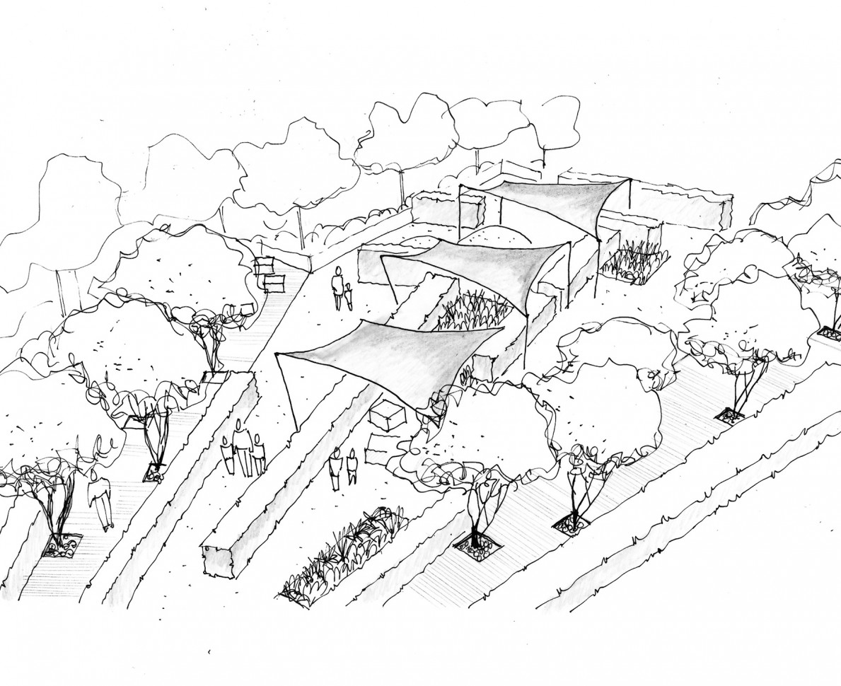 Artists impression sketch of the gardens at Lights Yekaterinburg