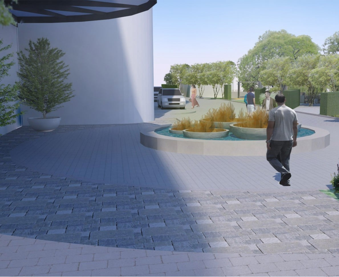 CGI image of the water feature in the communal gardens at Lights Yekaterinburg