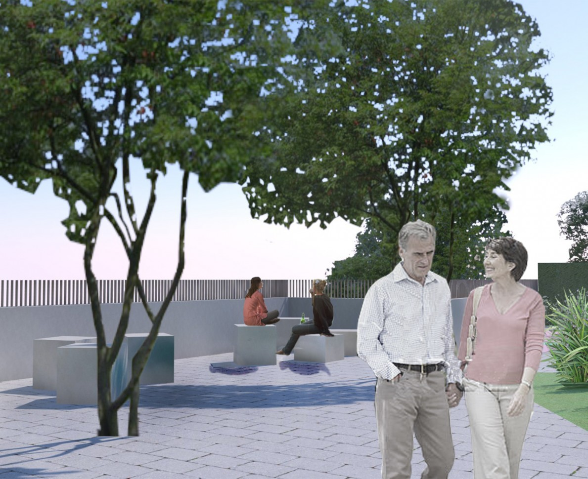 CGI impression of the garden seating area at Lights Yekaterinburg