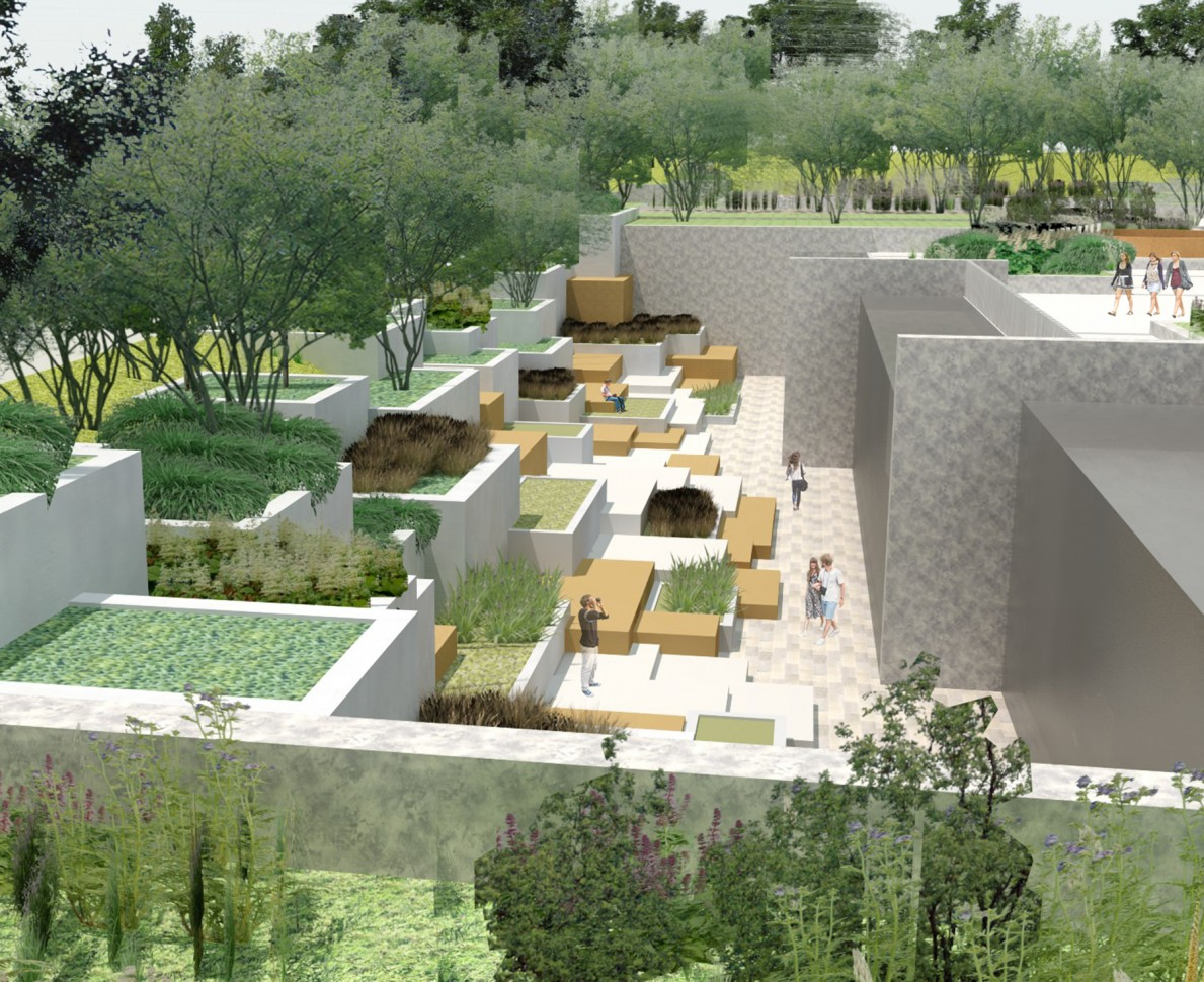 CGI impression of the terracing in the gardens at Ozyegin University