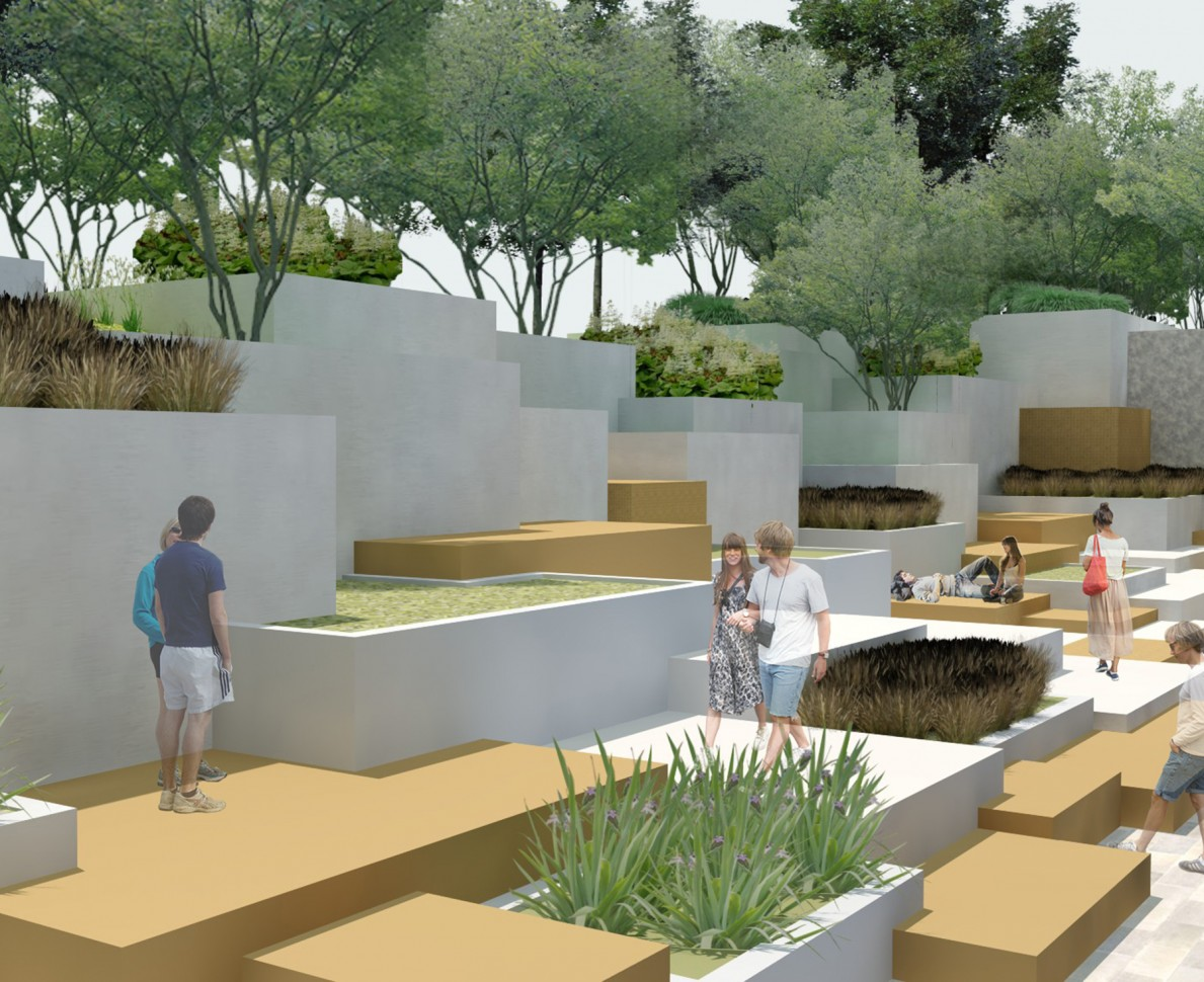 CGI impression of the terraced garden at Ozyegin University