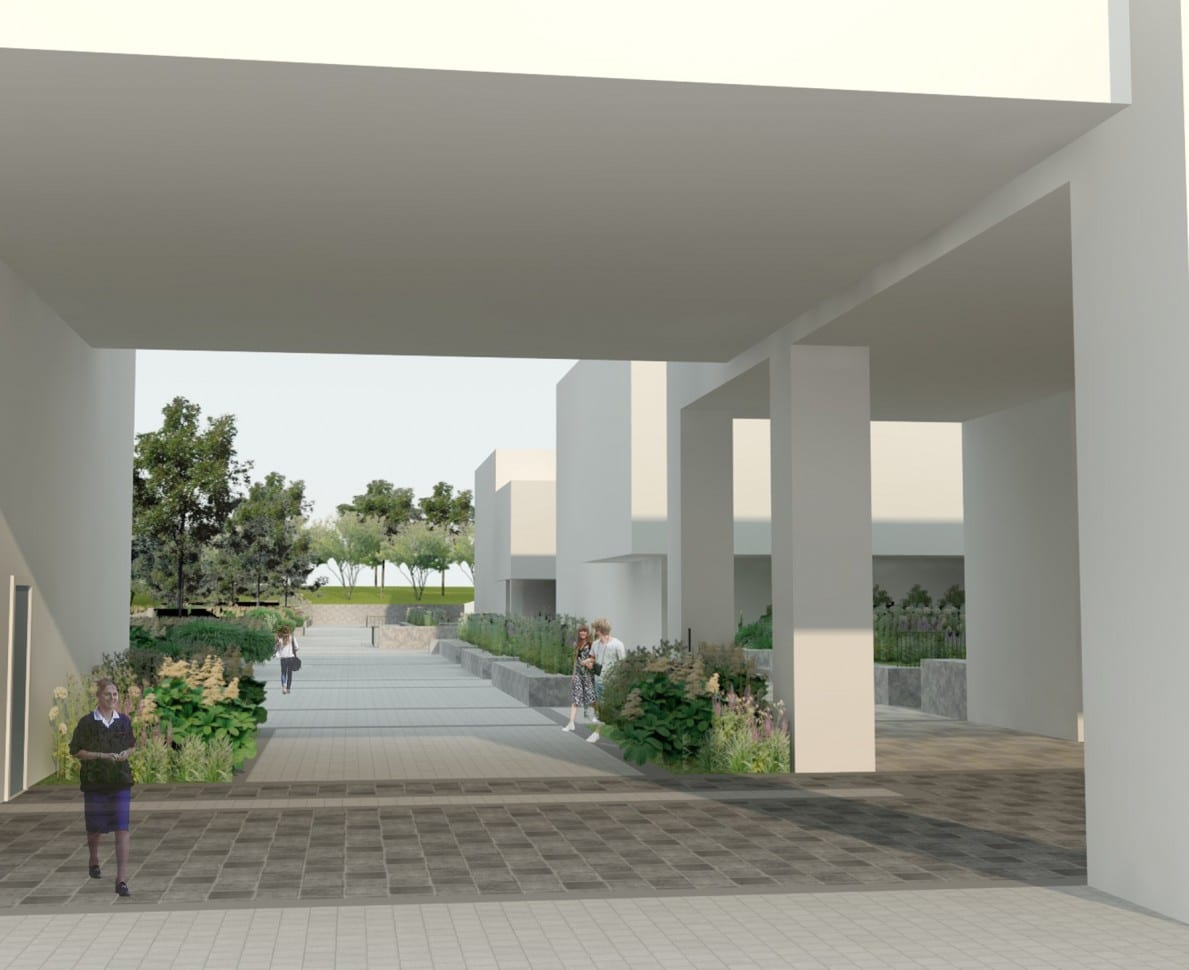 CGI view of a pathway through the university building with planted beds on either side