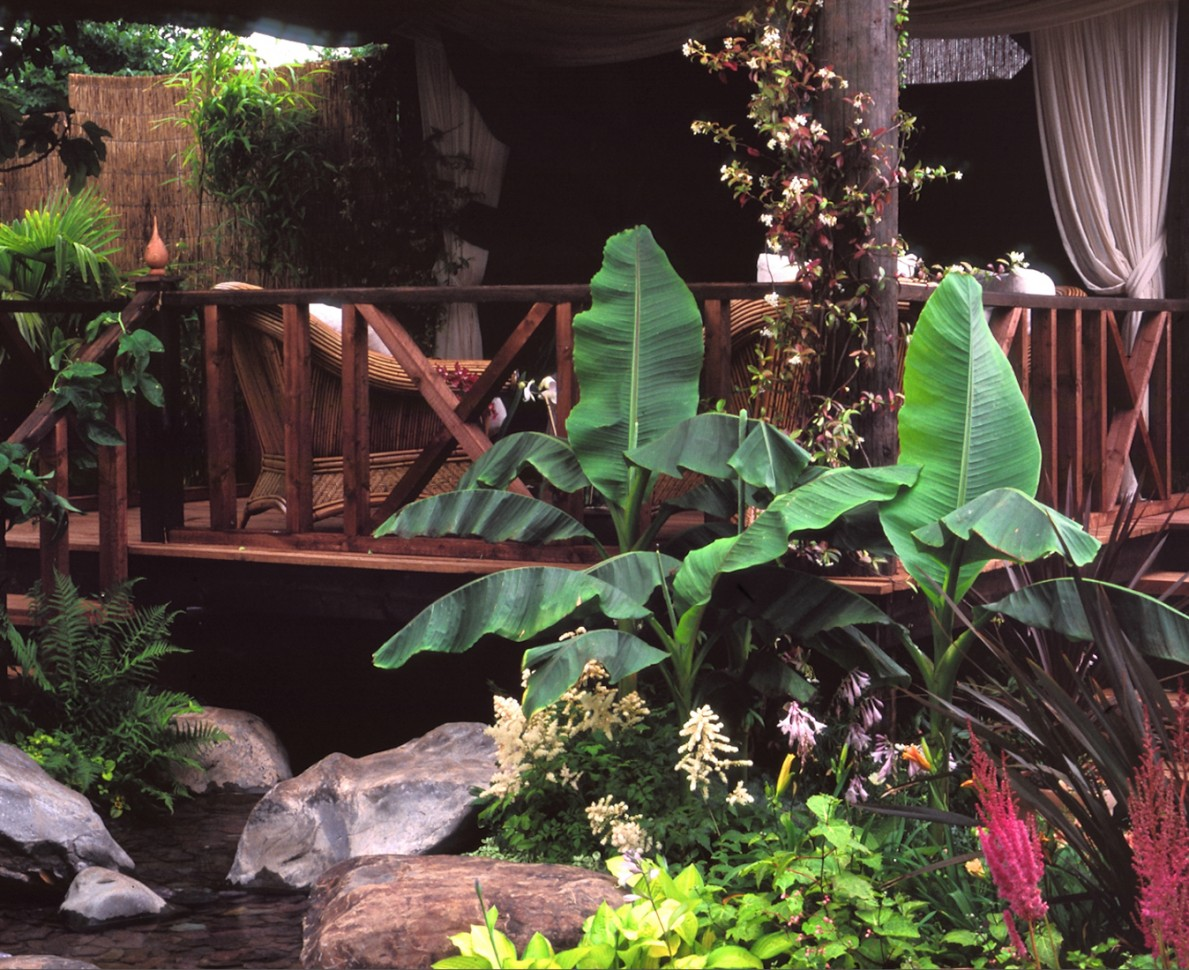 Beautiful tropical planting outside the Stilt House in the garden at RHS Hampton Court Flower Show 1998