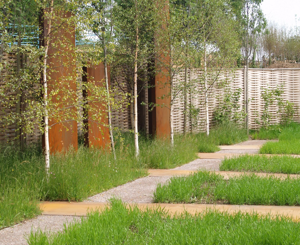 View across the 'Urban Greening' garden planted with fields of wheat