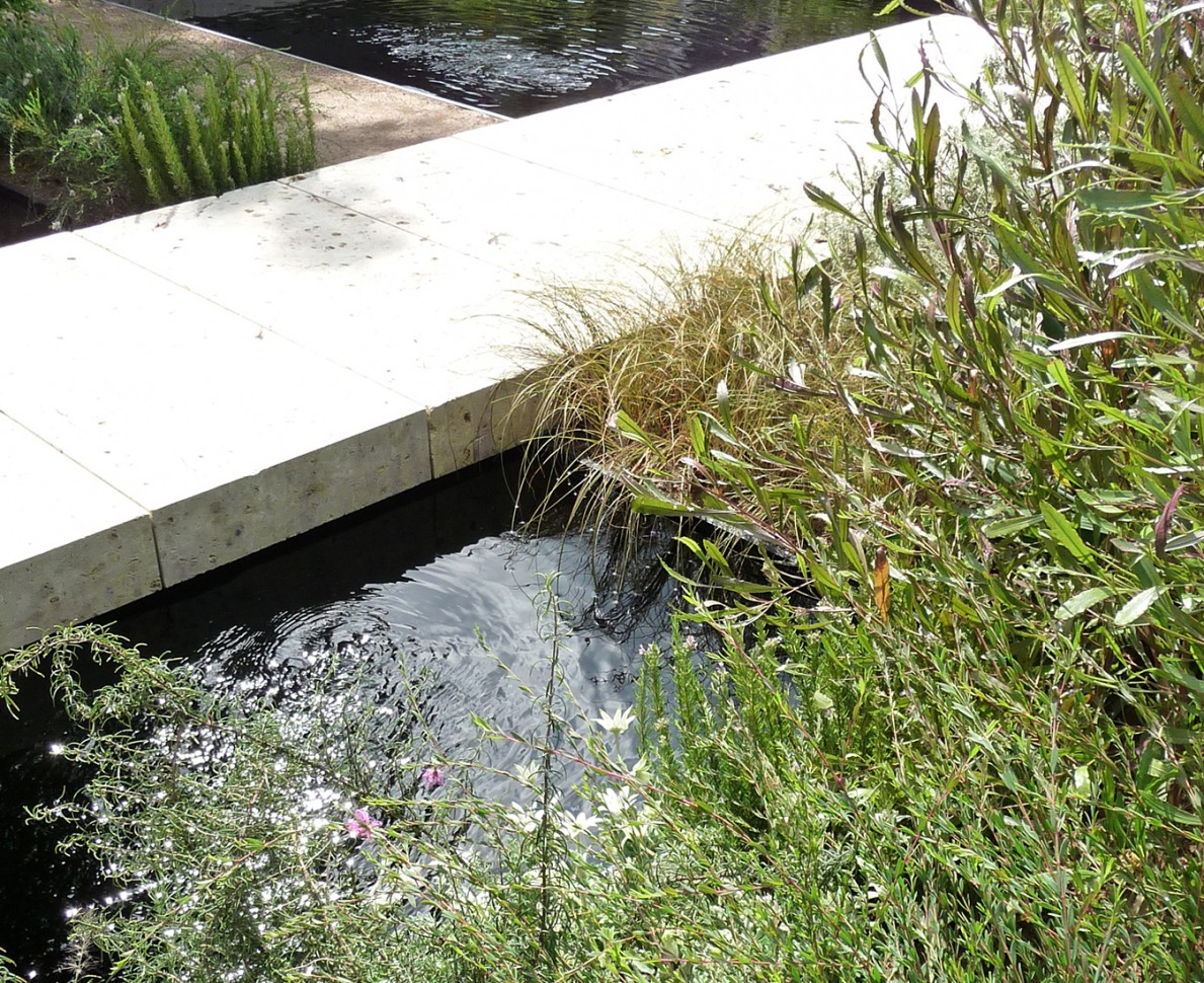 Water feature next to concrete path - Gardening World Cup 2010