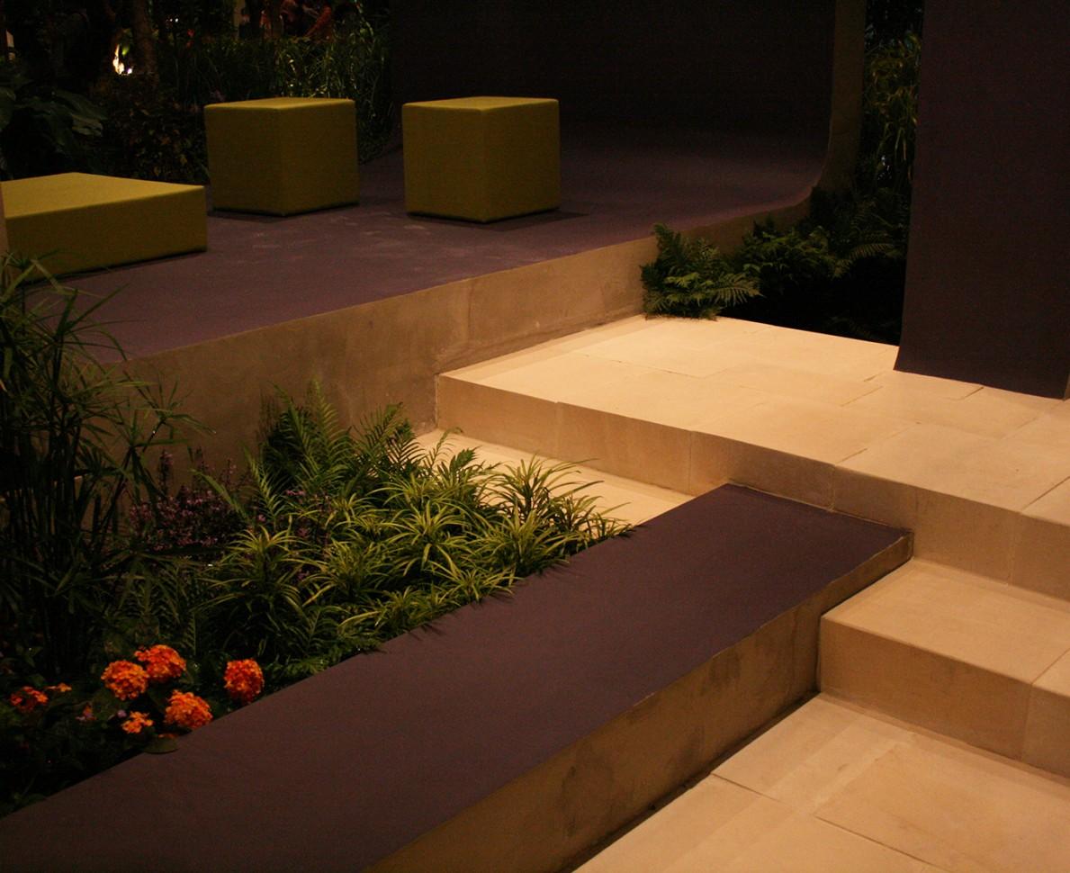 Planted border next to a stepped path - Singapore Garden Festival 2008