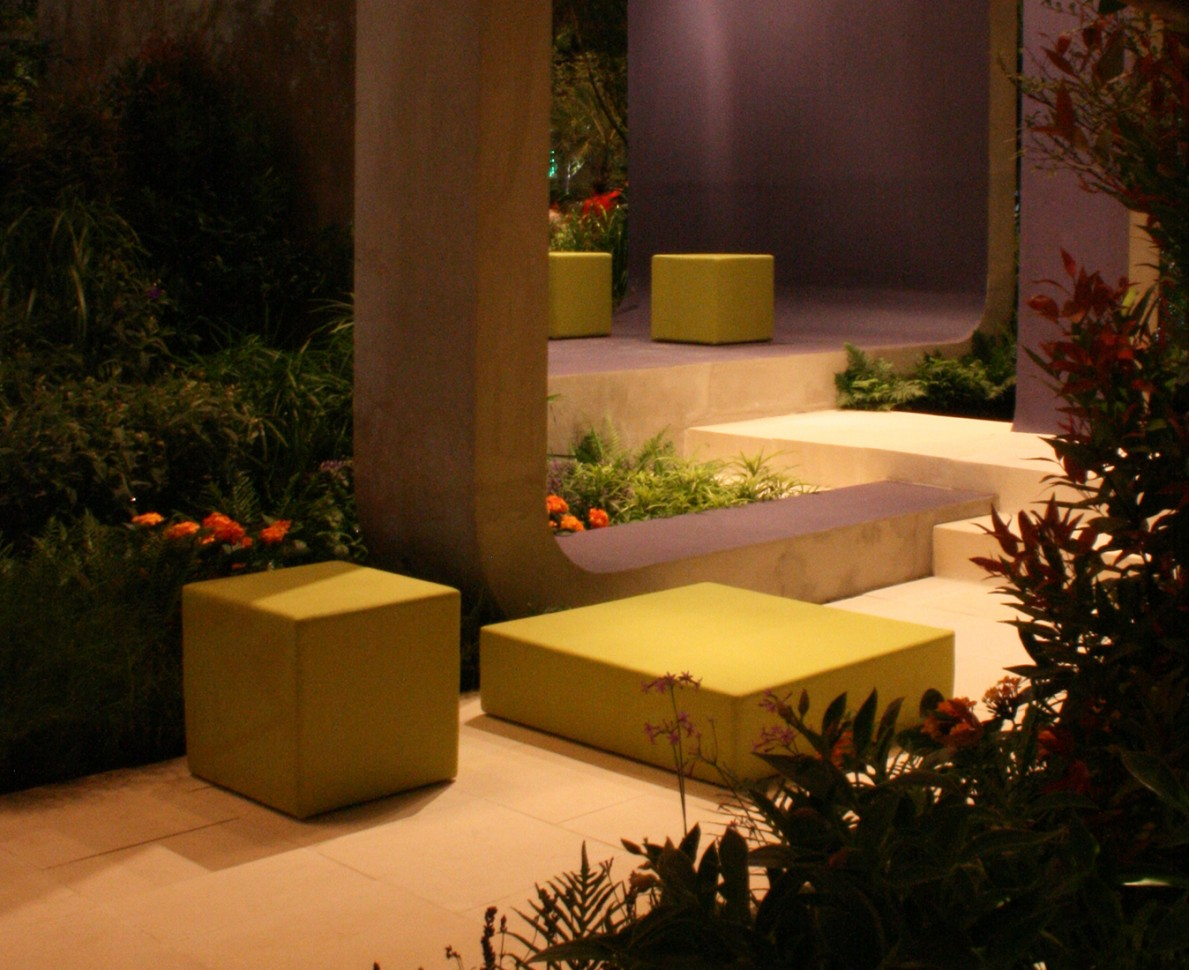 View of two seating areas within Singapore Garden Festival 2008 garden