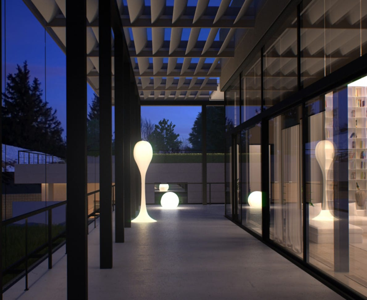Architectural light feature on the villa patio
