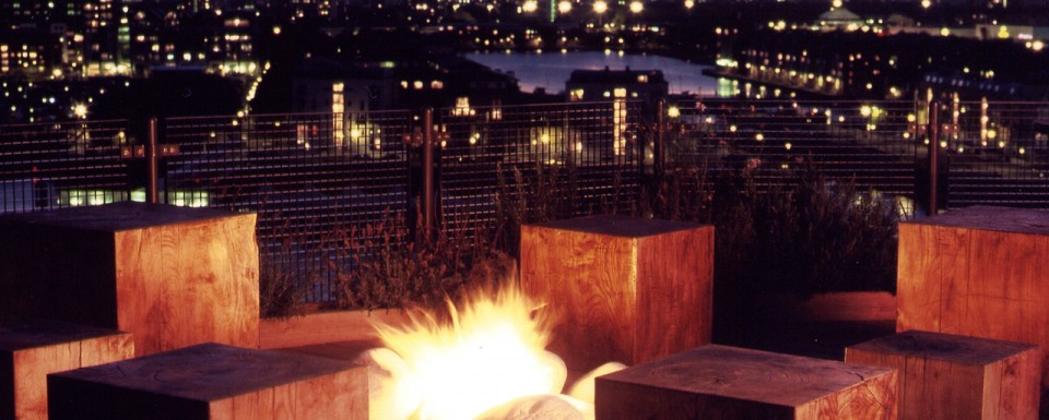 2004 Design and Decoration Award winning garden - Docklands terrace with firepit