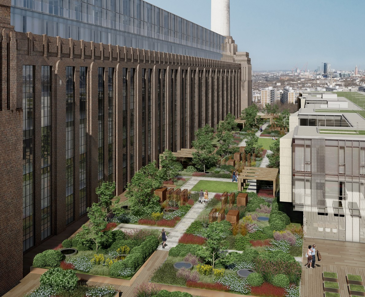 CGI view along the length of the Battersea Power Station garden