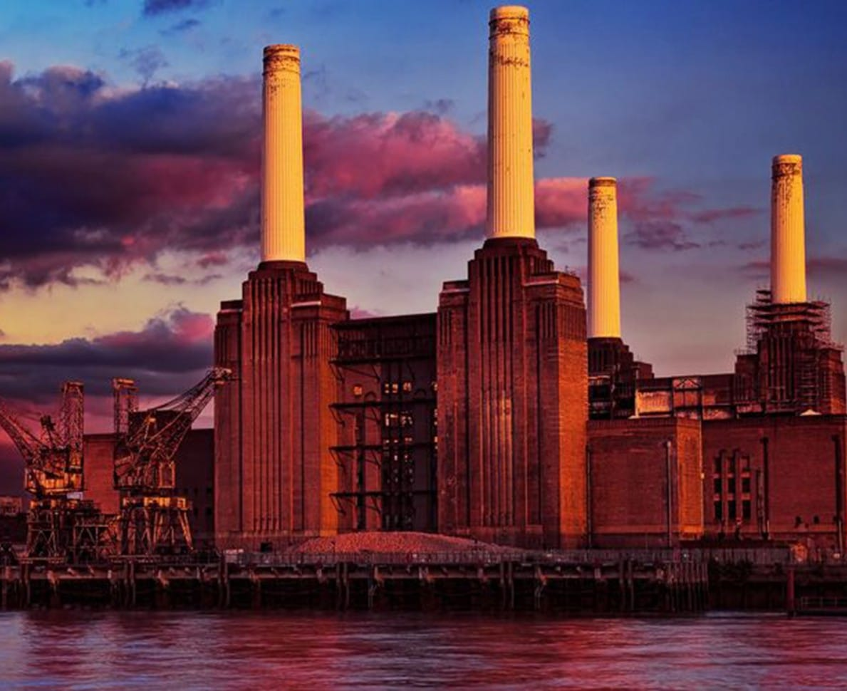 View of Battersea Power Station at sunset