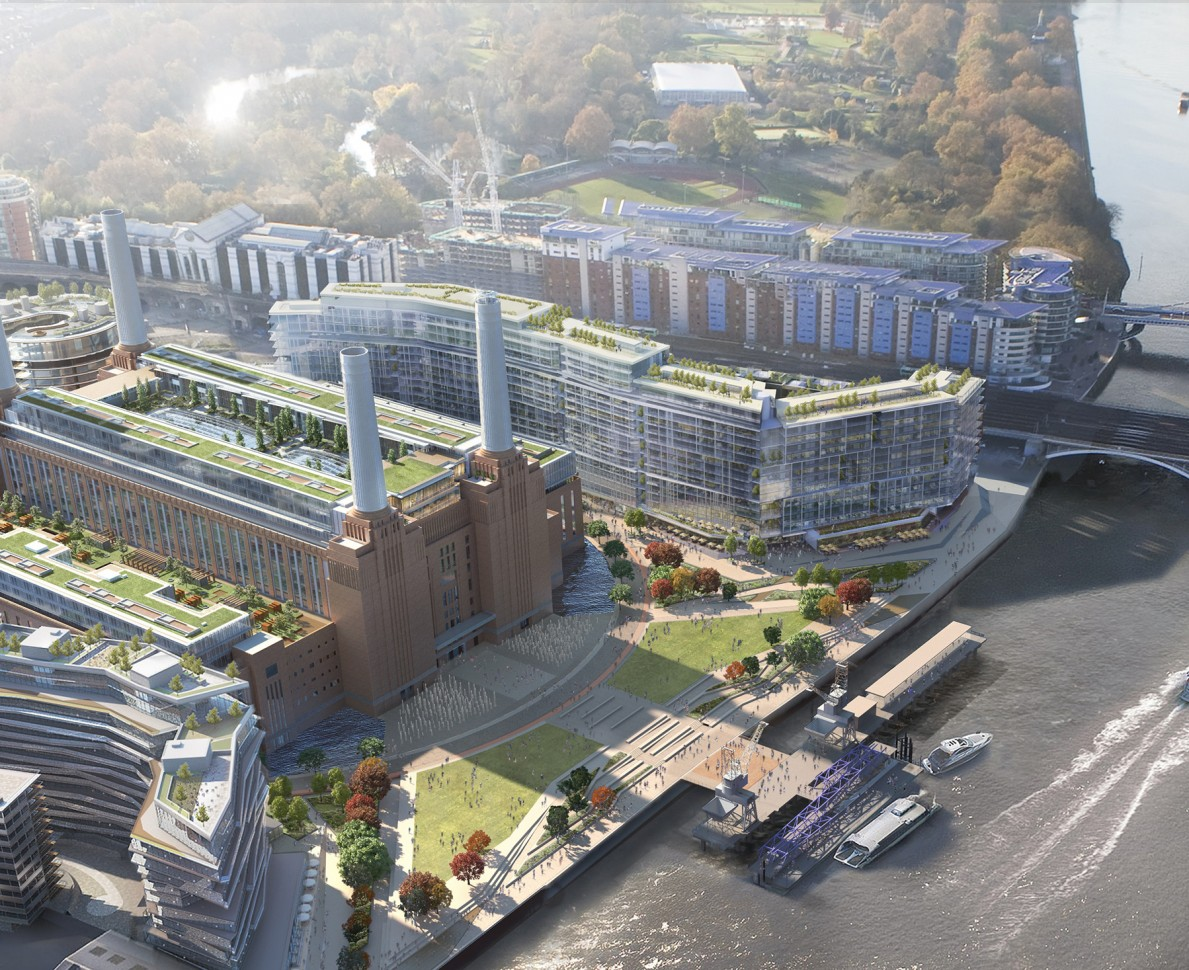Aerial CGI of the area from the river including new gardens