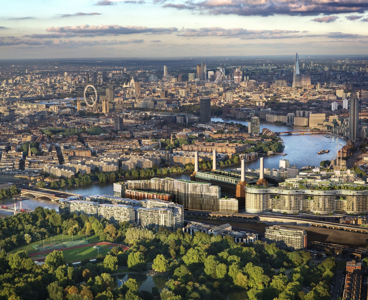 Aerial view of London over Battersea including planned gardens