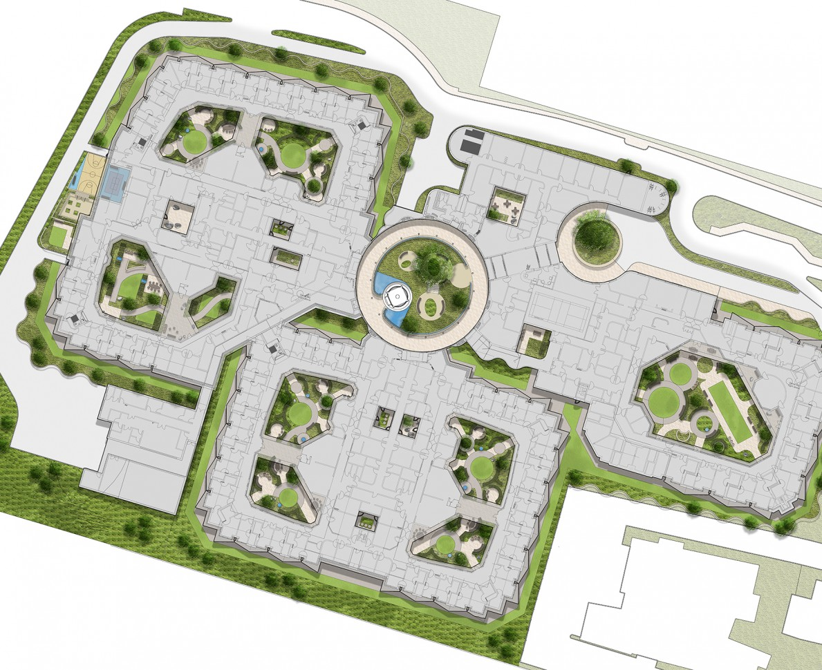 Plan of the gardens at Belfast Acute Mental Health Facility