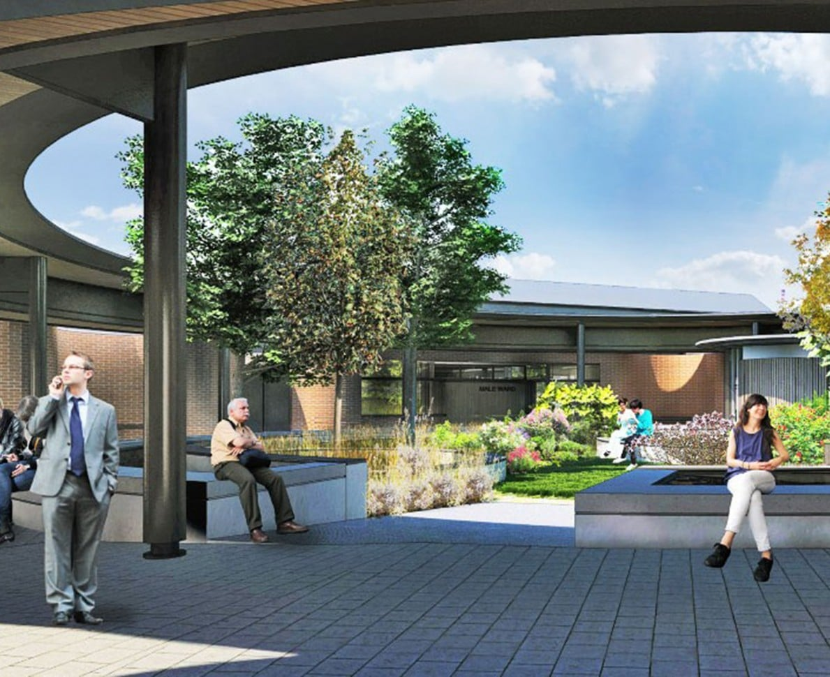 CGI gardens with people on seating, trees and planting