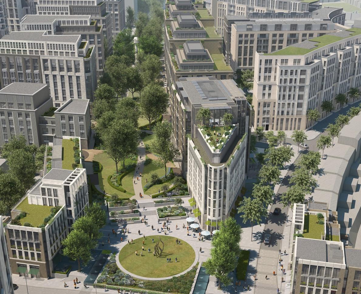 Aerial CGI looking down the planned gardens between buildings