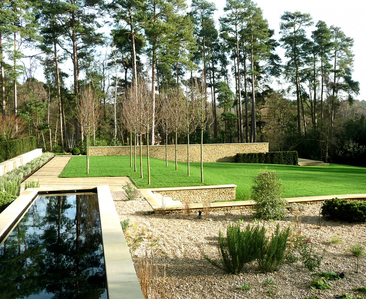 Looking over the water feature to the lawn