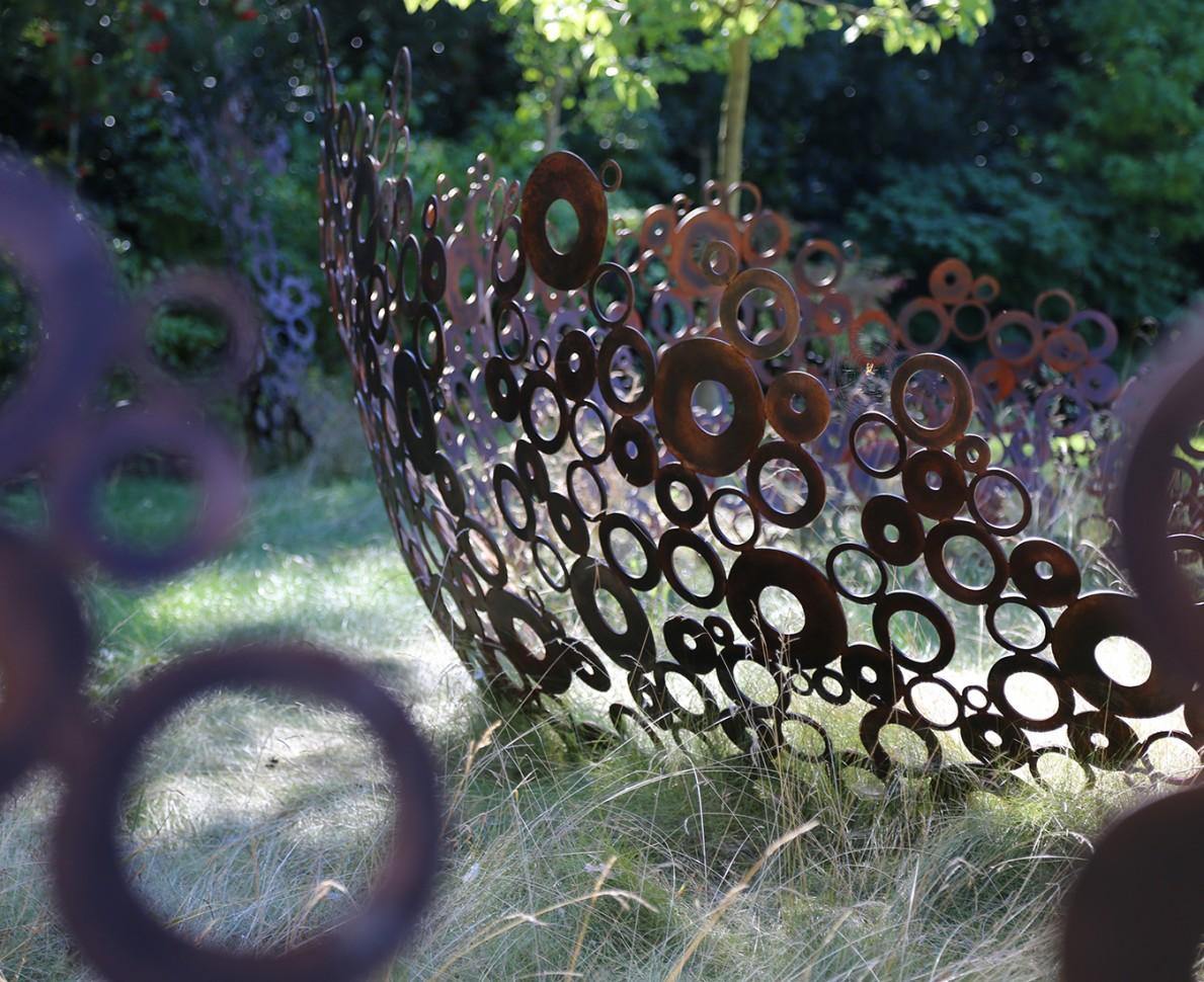 Close up of the sculpture made from metal circles