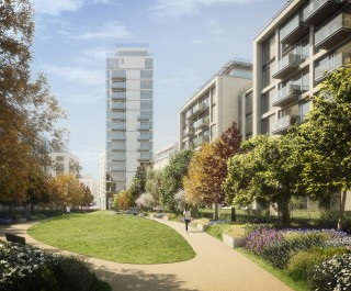 Lillie Square Phase 2 residential complex with communal gardens