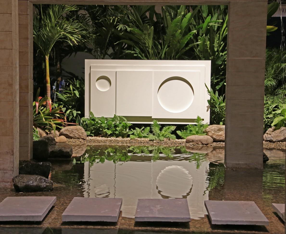 Sculpture viewed across the water feature - Philadelphia Flower Show 2014