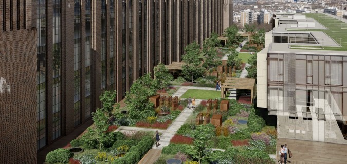 Battersea Power Station Featuring Garden With Colourful Shrubs