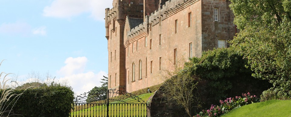 Grand gated entrance to Brodick Castle