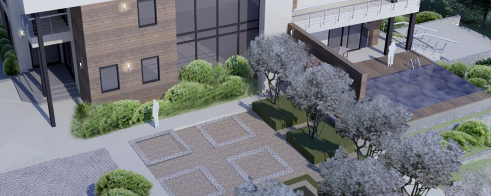 Lakeside garden CGI overhead view