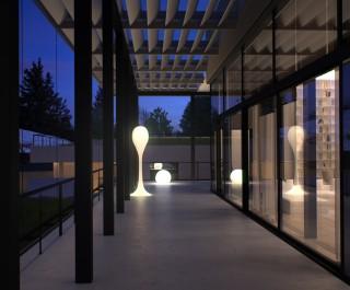 Modern terrace with sculptural lighting at a Ukraine villa