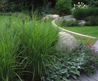 Grasses set against boulders and a curved wall in a modern family garden