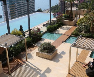 2014 Society of Garden Designers Hardscape award winning garden - pool deck at Westminster Terrace Hong Kong