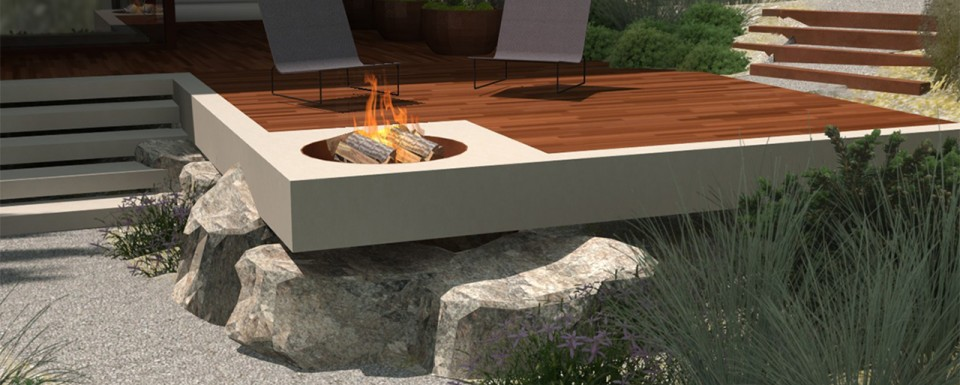 Modern decking with a firepit at a house in Yalta