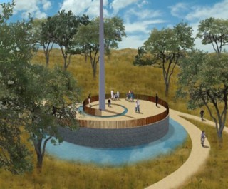 Artists impression of the Genocide Memorial Garden in Kigali with intertwining walls and a central memorial monolith