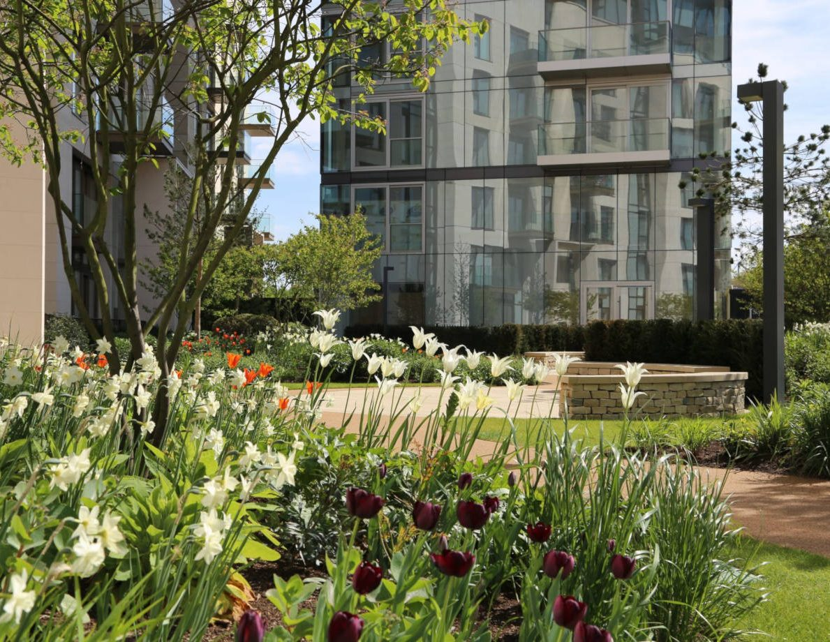 The beautiful planting at Lillie Square Residential Development London
