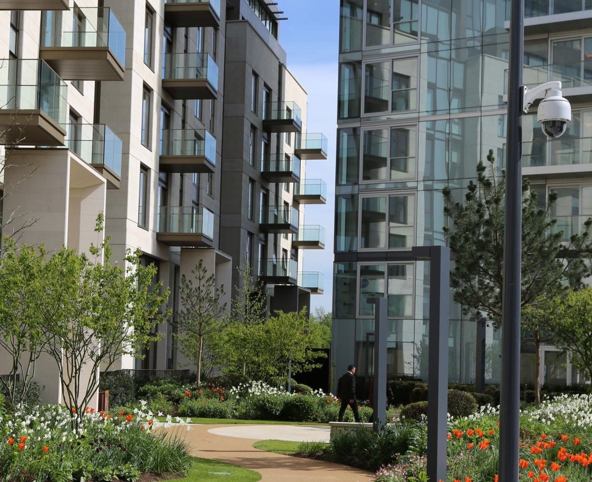 Lillie Square Residential Development London Featuring Garden Pathway Surrounded By Buildings