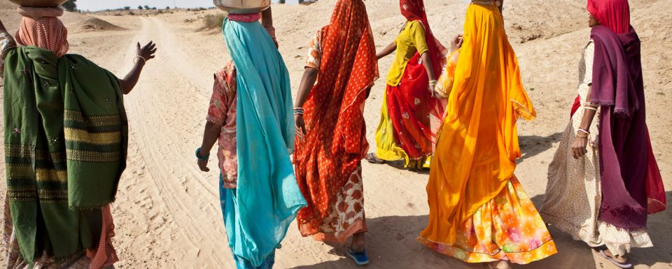 Girls collecting water in Thar desert